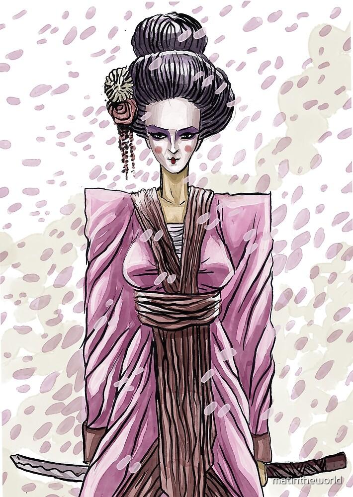 fashion geisha with sword by matintheworld