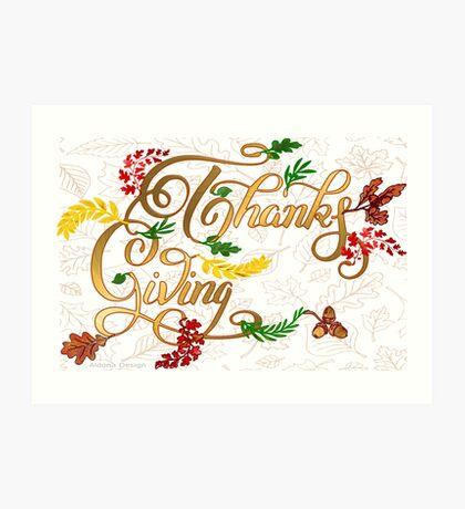Thanks giving  & 3 leaves pattern ( 183 Views) Art Print