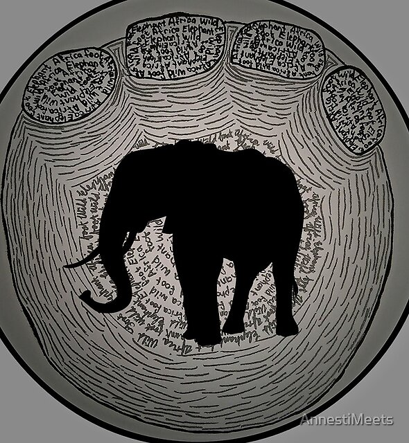 Wild, African Elephant in foot drawing and typography by AnnestiMeets