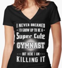 Super Cute Gymnast - Gymnast Lover Funny Gifts Women's Fitted V-Neck T-Shirt