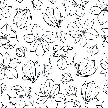 Line art  magnolia flowers and buds by Mesori