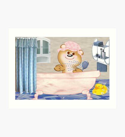 Teddy in the bath tub (6516 Views) Art Print