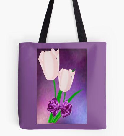 2 Pink Tulips (9045 Views) Tote Bag