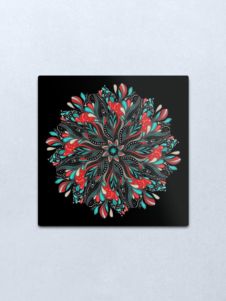 Vista alternativa de Lámina metálica Mandala Flowers