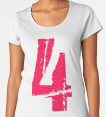 Scratched pink number 4 Women's Premium T-Shirt