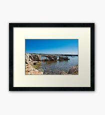A wonderful cliff in a tourist resort in the Mediterranean Framed Print