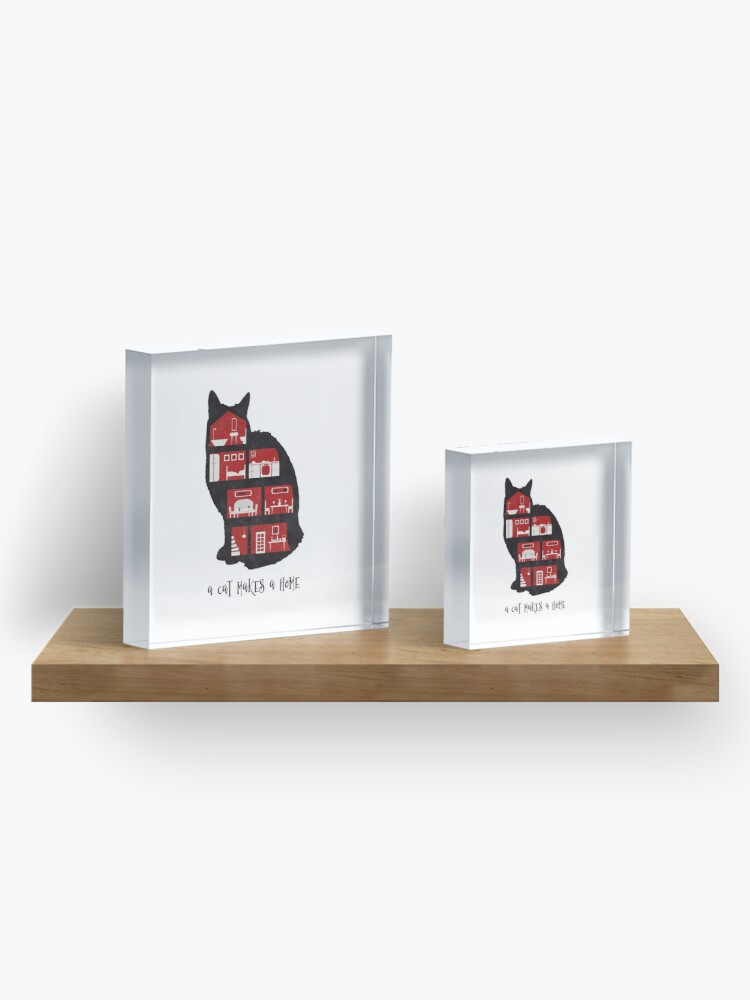 Alternate view of A cat makes a home Acrylic Block