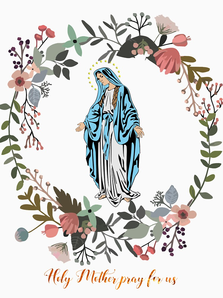 Holy Mary Pray for us Virgin Mary Wall Art Blessed Mother of God Catholic Gift by tanabe