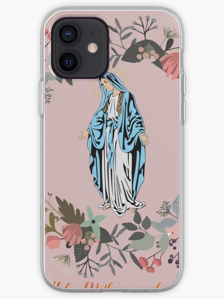Sainte Marie priez pour nous Vierge Marie Wall Art Bienheureuse Mère de Dieu cadeau catholique | Coque iPhone