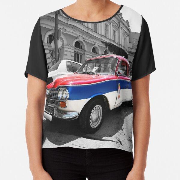 Serbian flag car vintage black and white Chiffon Top