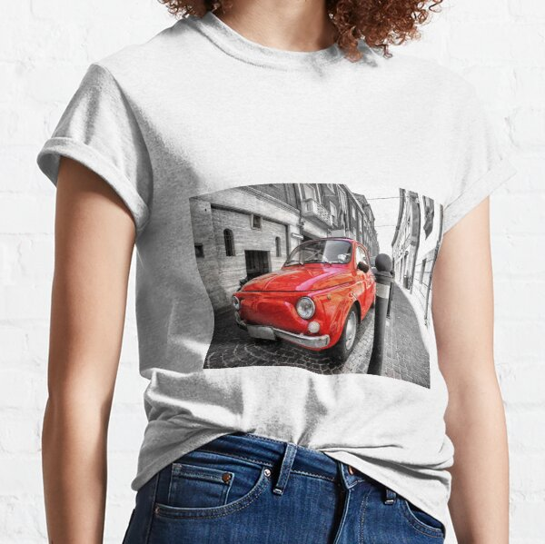 Red car fiat 500 black white colorsplash in italy. home decor photo pillow Classic T-Shirt