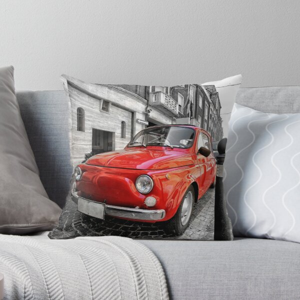 Red car fiat 500 black white colorsplash in italy. home decor photo pillow Throw Pillow
