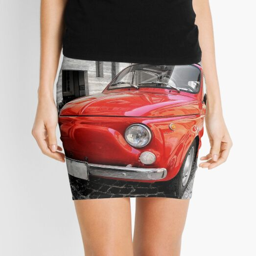 Red car fiat 500 black white colorsplash in italy. home decor photo pillow Mini Skirt
