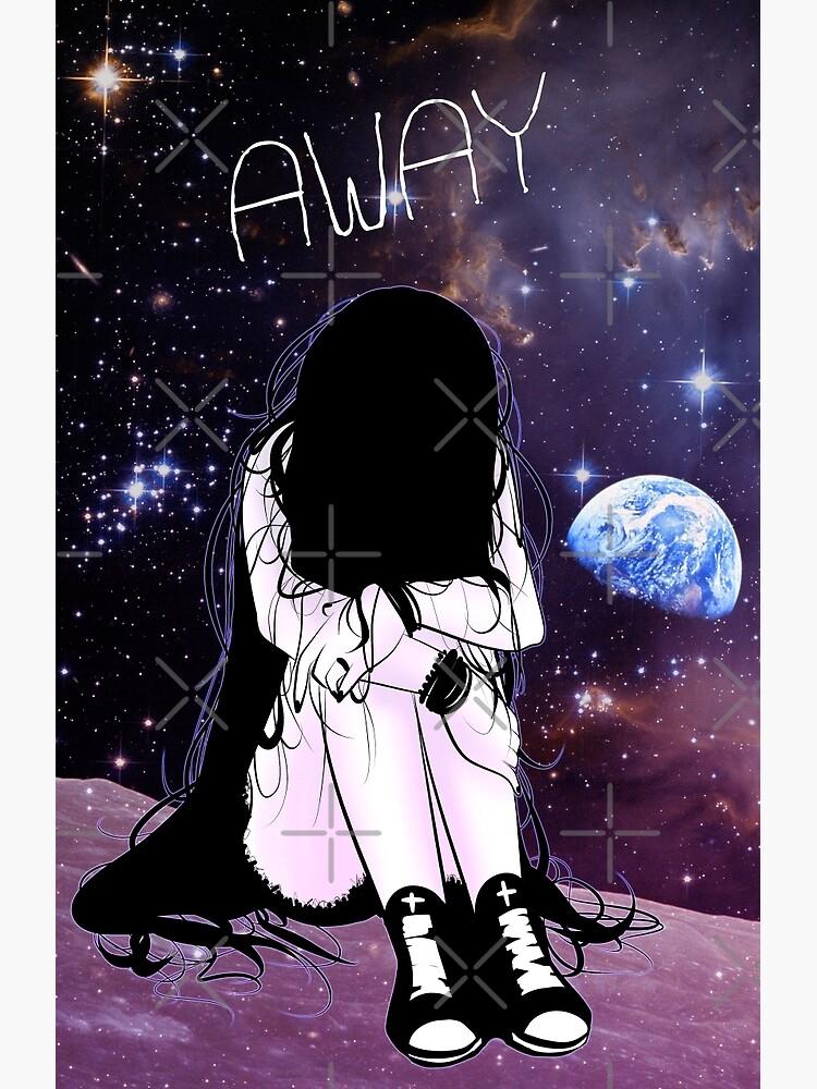 """Anime Sad girl gone away on the Moon"" Art Print by ..."