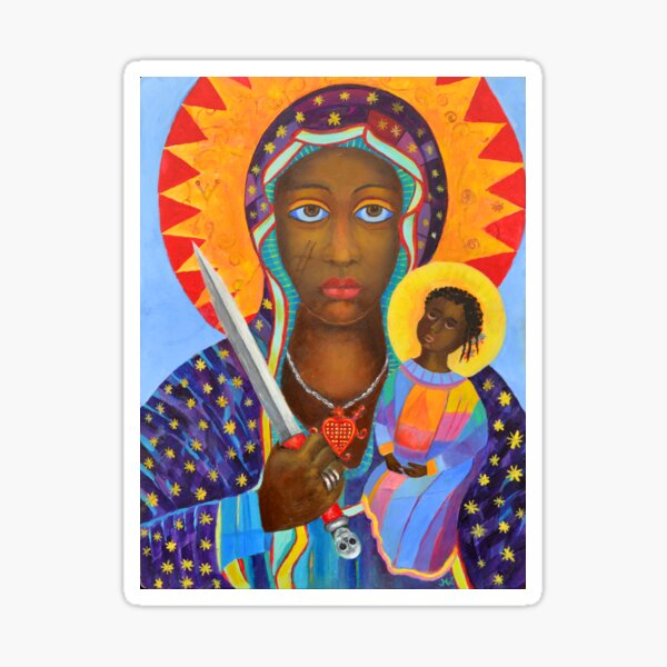 Erzulie Dantor, Haitian voodoo art, Erzulie Dantor, Vodoo art. Erzulie Danto painting. Danthor or Ezili picture, Haitian Lwa, Black Virgin Madonna, African - New Orlean Mambo Sticker