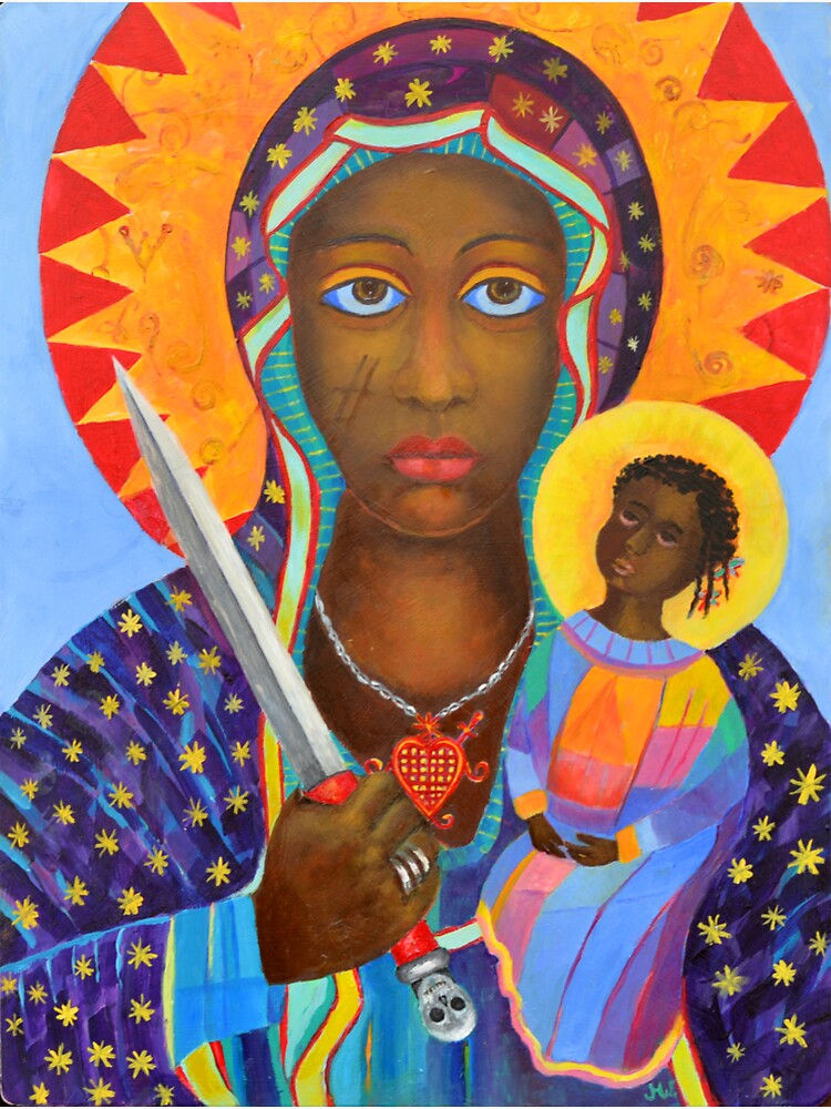 Black Madonna Poland artwork Polish Madonna print Virgin Mary painting Our Lady Religious painting by tanabe