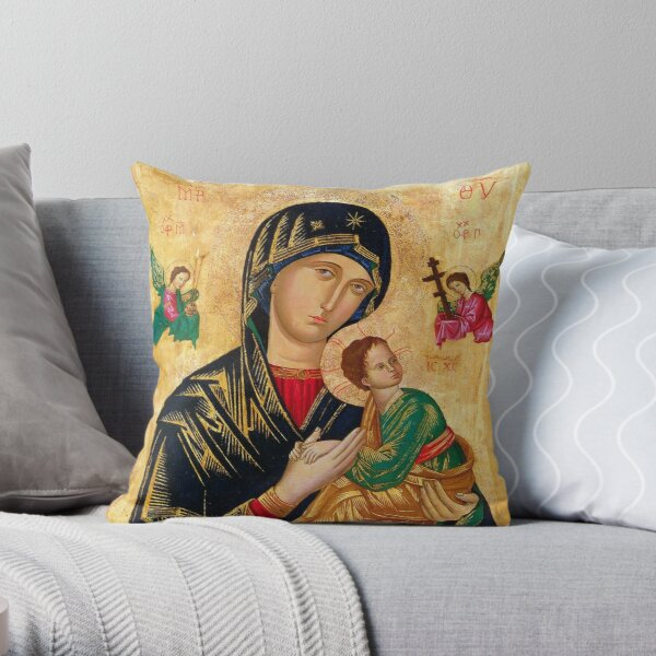 Our Lady of Perpetual Help, Russian orthodox icon, Madonna and Child, Virgin Mary  Throw Pillow