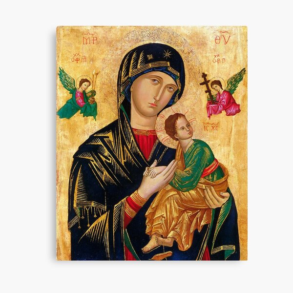 Our Lady of Perpetual Help, Russian orthodox icon, Madonna and Child, Virgin Mary  Canvas Print