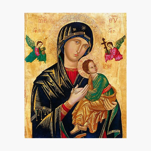 Our Lady of Perpetual Help, Russian orthodox icon, Madonna and Child, Virgin Mary  Photographic Print