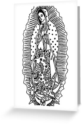 Virgen De Guadalupe Our Lady Of Guadalupe Black And White Design