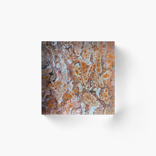 Orange and Brown Flow Acrylic Block