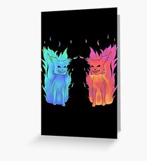 Blue and Red Flames Greeting Card