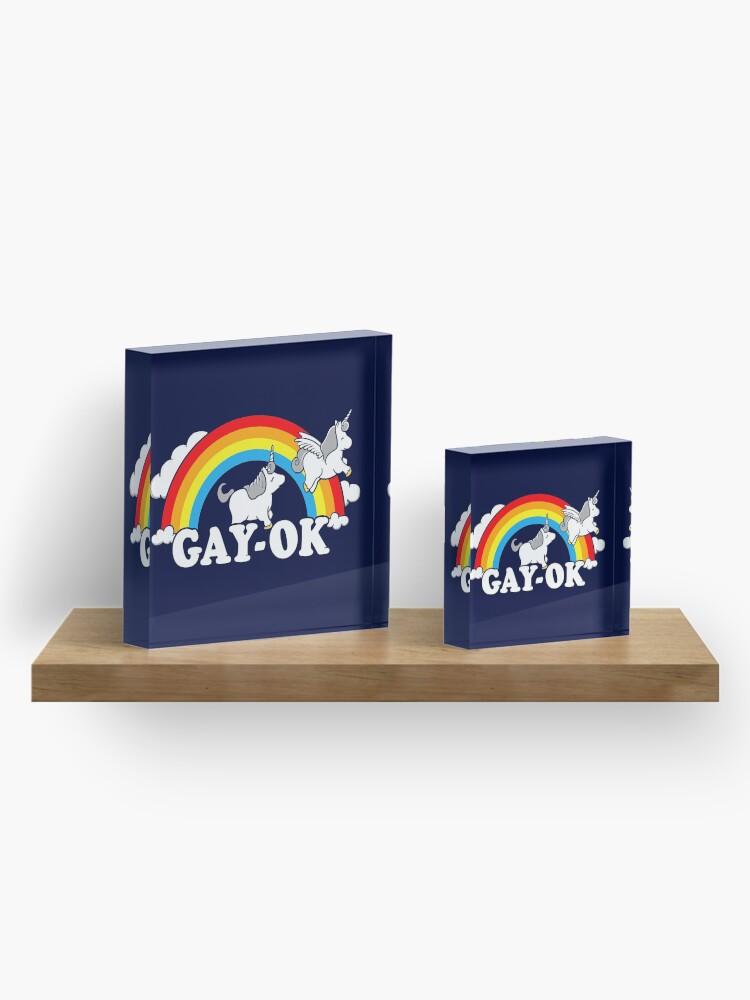 Alternative Ansicht von Homosexuell Ok Stolz Regenbogen Acrylblock