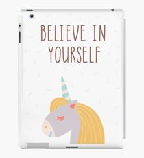 Cute unicorn poster. Believe in yourself iPad Case/Skin
