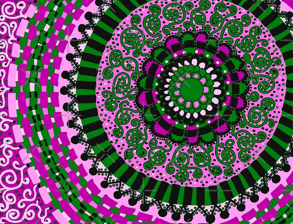 Pink and Green Mandala by Clare Wuellner