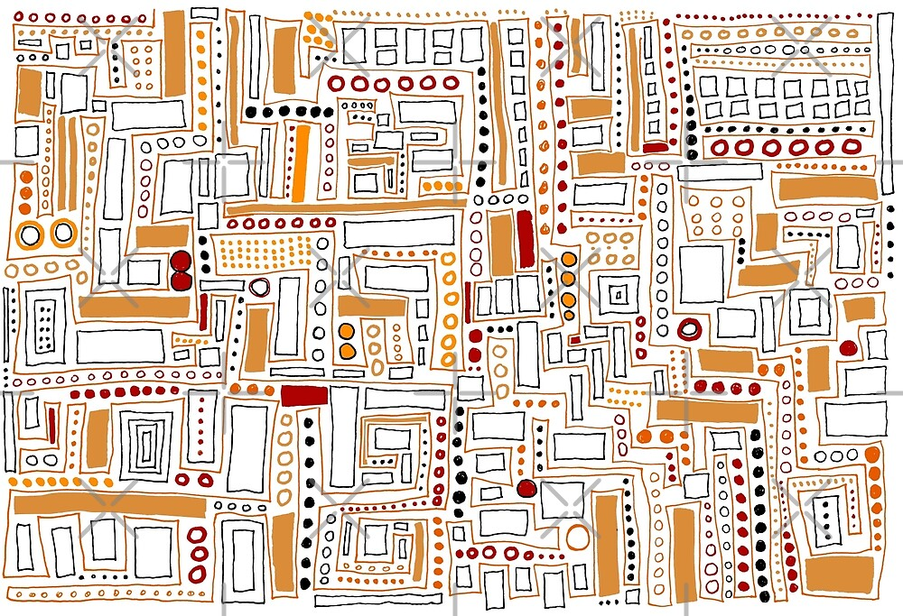 Orange and Red Modern Pattern by Clare Wuellner