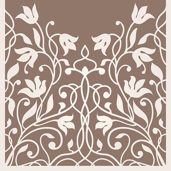 Decorative Silhouette Art Nouveau Flowers Pattern By Eszadesign