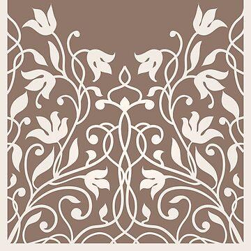 Decorative silhouette  Art Nouveau flowers pattern.  by eszadesign