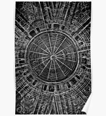 Mandala - central web black and white Poster