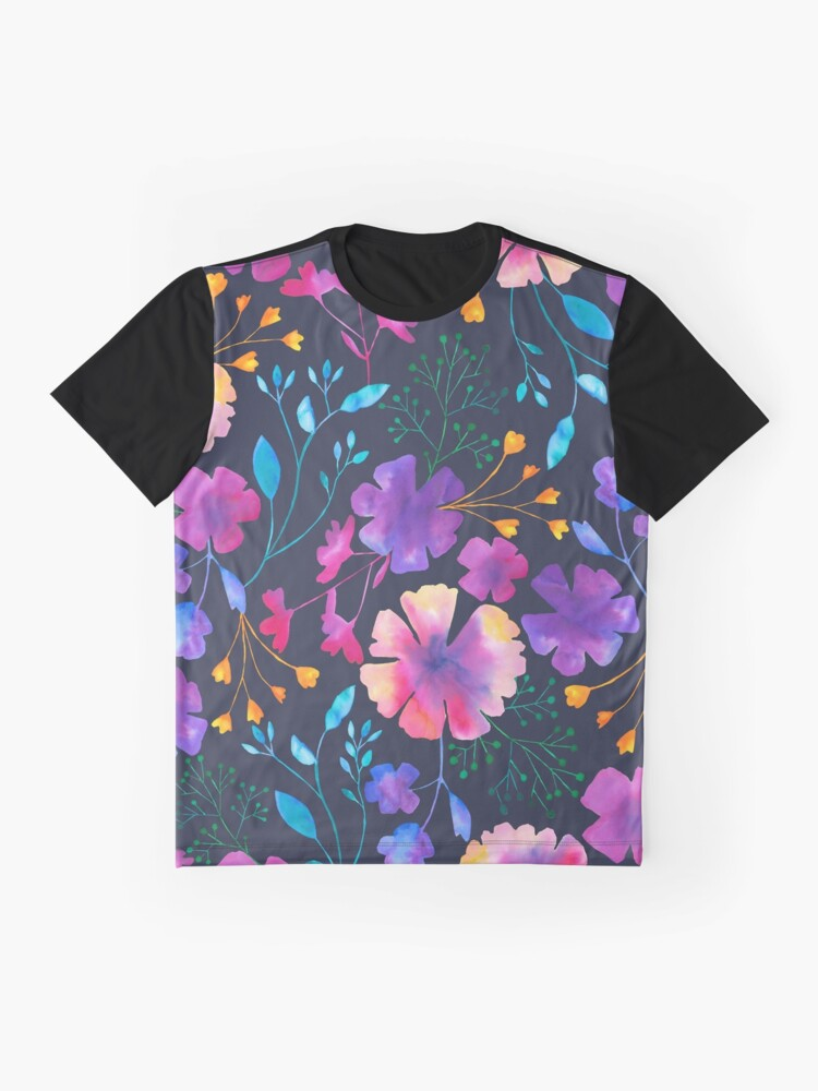 Alternate view of Fluro Floral Watercolour Flower Pattern Graphic T-Shirt