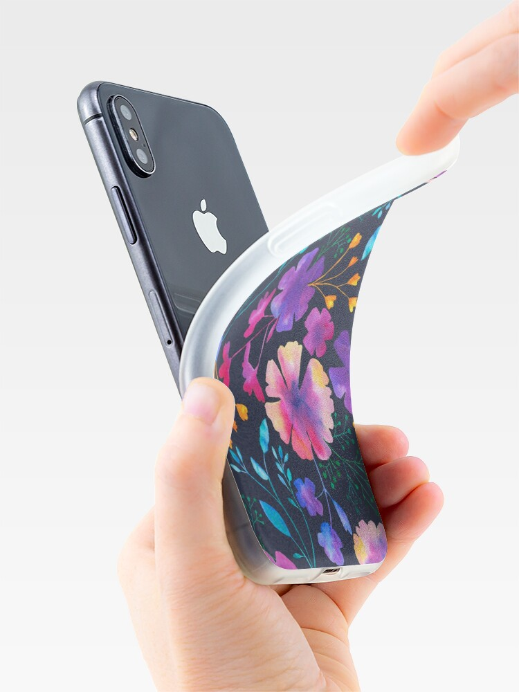 Alternate view of Fluro Floral Watercolour Flower Pattern iPhone Case & Cover