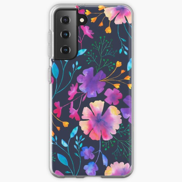 Fluro Floral Watercolour Flower Pattern Samsung Galaxy Soft Case