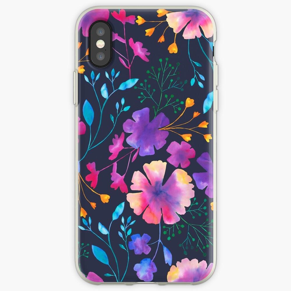Fluro Floral Watercolour Flower Pattern iPhone Case & Cover