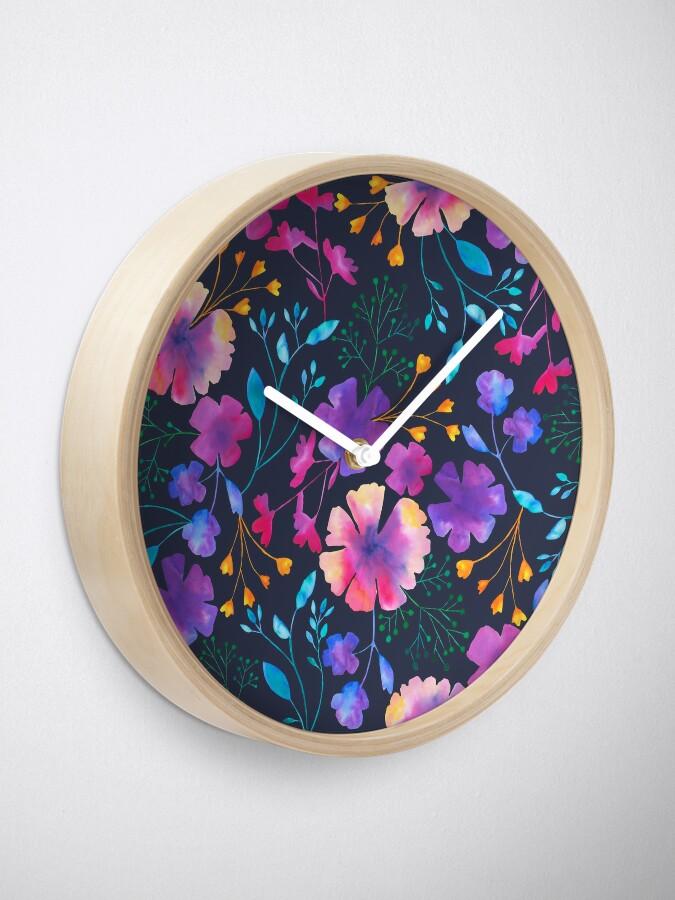 Alternate view of Fluro Floral Watercolour Flower Pattern Clock