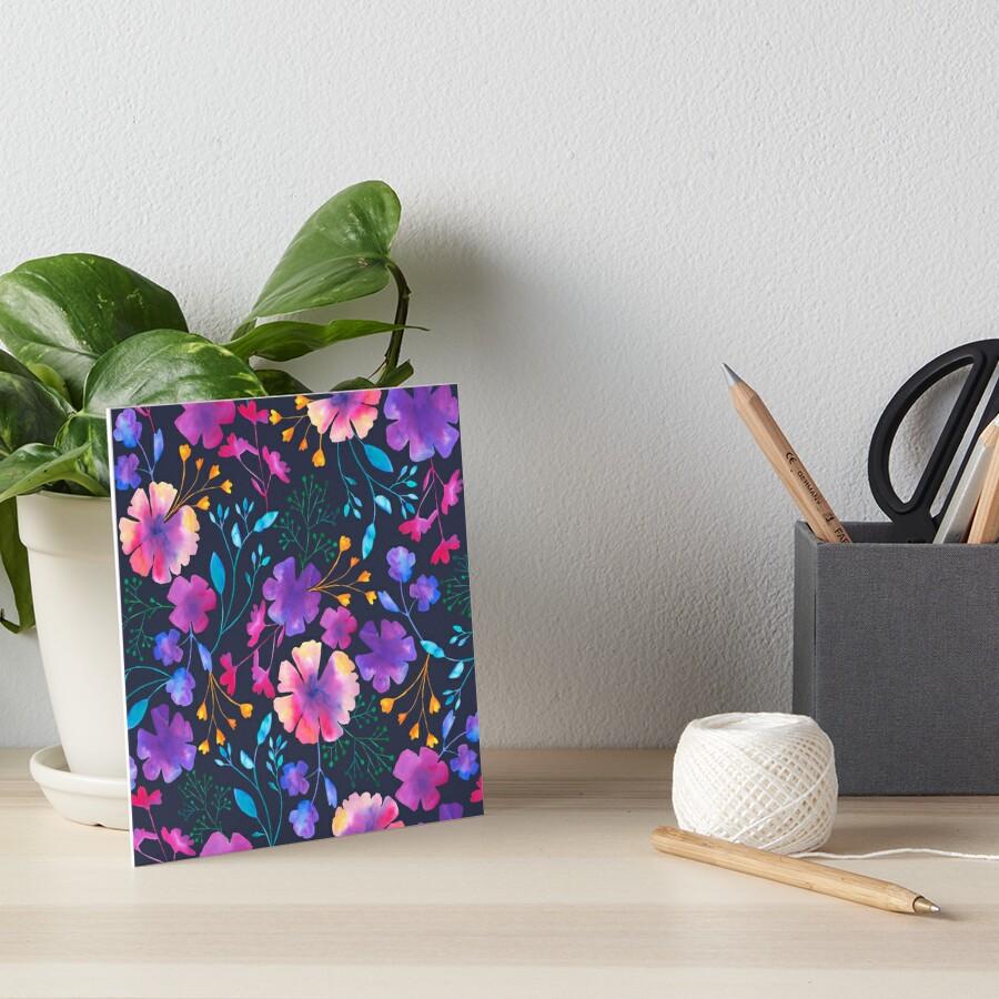 Fluro Floral Watercolour Flower Pattern Art Board Print