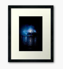 Spectacular fireworks over the sea Framed Print