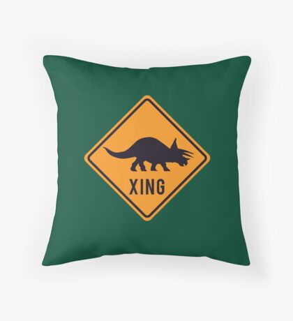 Prehistoric Xing - Triceratops Throw Pillow