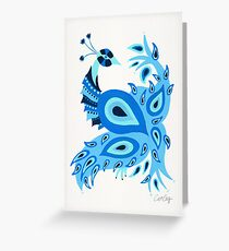 Peacock – Ice Blue Palette Greeting Card