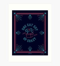 One Cat Shy of Crazy – Hot Pink & Navy Palette Art Print