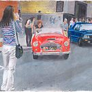 A drawing of Asian Girl photographing a classic Austin-Healey car. by SteveBrandon