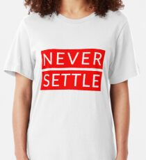 Never Settle OnePlus Red Slim Fit T-Shirt