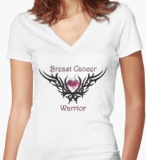 Breast Cancer Warrior Women's Fitted V-Neck T-Shirt