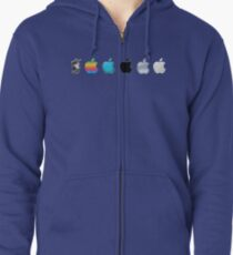 Apple Logo Evolution History Zipped Hoodie