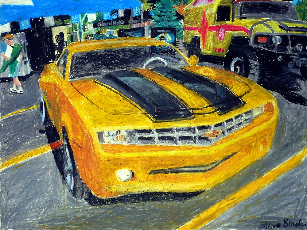 An oil pastel drawing of the Bumblebee Camaro Concept car. by SteveBrandon