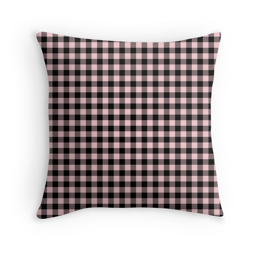 Light Millennial Pink Pastel Color and Black Buffalo Check Plaid