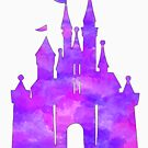 Rosa und lila Burg des Aquarells von Becca Cook